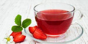 chá da folha do morango